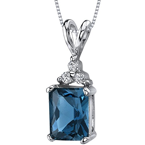 (London Blue Topaz Pendant Necklace Sterling Silver Rhodium Nickel Finish Radiant Cut 3 CZ Accent)
