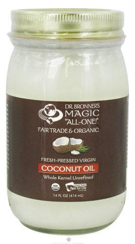 Dr. Bronner's - Fair Trade & Organic Fresh-Pressed Virgin Coconut Oil 1 USDA ORGANIC & FAIR TRADE INGREDIENTS ONLY: Dr. Bronner's Organic Virgin Coconut Oil is expeller-pressed from fresh, carefully dried coconut kernels. Contains only 1 ingredient-simple & delicious! DR. BRONNER'S ORGANIC VIRGIN COCONUT OIL IS VERSATILE: Our Organic Coconut Oil is perfect for cooking, baking, hair & body! Use for stir-frying, sauces & baking. Moisturizes hair & skin, good for oil pulling and oral health. CLIMATE-FRIENDLY FARMING: Our sister company in Sri Lanka works with farmers to implement regenerative organic practices that enrich soil, promote biodiversity and sequester atmospheric carbon-building resilience in the face of a changing climate!
