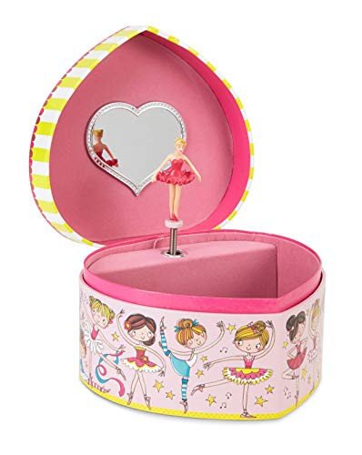 JewelKeeper Heart Shaped Little Ballerina and Friends Musical Jewelry Box, Swan Lake Tune