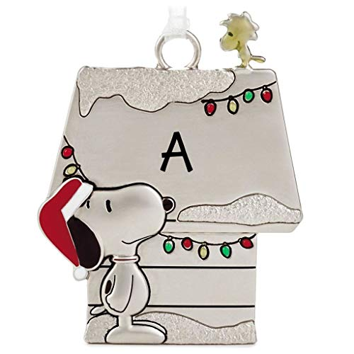 Hallmark Letter Initial A Peanuts Snoopy and Woodstock Charmers Metal Christmas Ornament