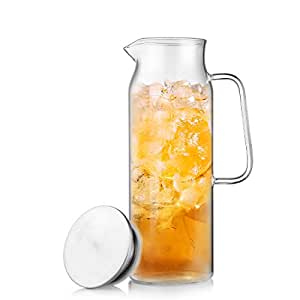 ONEISALL 60OZ Glass Jug Handcraft Water Jug Glass Pitcher&Carafe with Handle,Ice Flower Tea Jug&Pitcher (1700ML)