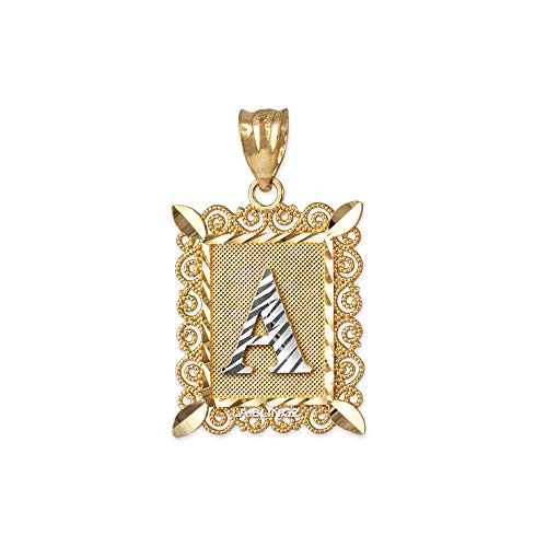- LA BLINGZ 10K Yellow Gold Filigree Alphabet Initial Letter DC Small Charm Pendant (Letter A)