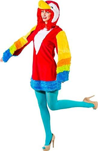Damen Plusch Papagei Hell Vogel Tier Dschungel Karneval Fasching