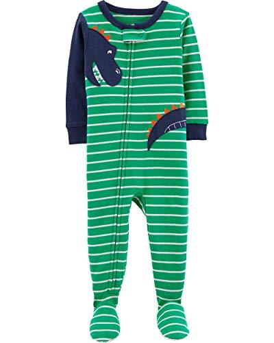 Dinosaur Toddler Boys Striped Dinosaur Cotton Footed Pajama Sleeper (3T) Green