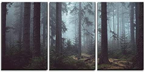Amazon Com Wall26 3 Piece Canvas Wall Art Foggy Pin Forest Modern Home Art Stretched And Framed Ready To Hang 16 X24 X3 Panels Posters Prints