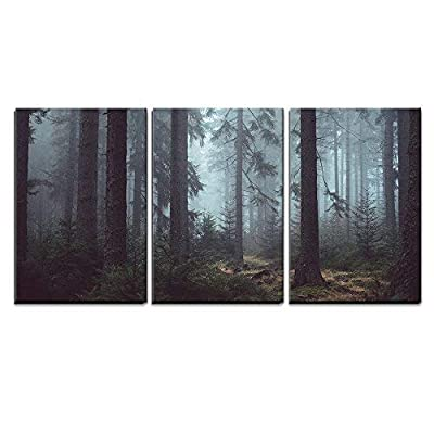 3 Piece Canvas Wall Art - Foggy Pin Forest - Modern Home Art Stretched and Framed Ready to Hang - 24