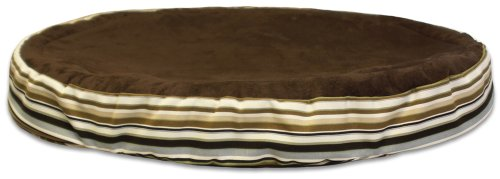 Gel-Pedic Toy Ultra-Soft Suede Pet Bed Cover, Chocolate/Earthy Stripes (Gel Pedic Pet Bed Cover)