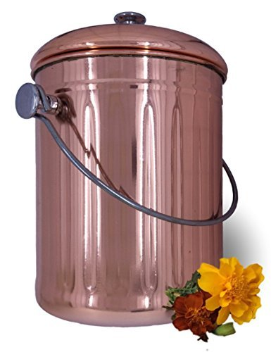 Compost Pail Bin Bucket For Indoor Kitchen Countertop   Copper Coated  Stainless Steel 1 Gallon