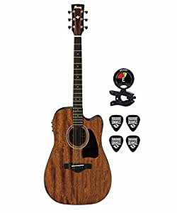 ibanez aw54ceopn artwood dreadnought acoustic electric guitar kit with clip on. Black Bedroom Furniture Sets. Home Design Ideas