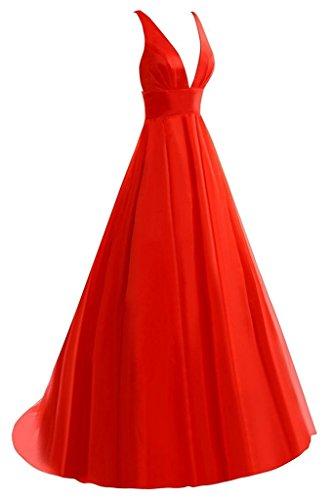 JAEDEN Mujer Cuello en V profunda Tul Vestidos de noche Largo Sin espalda Vestido de baile Vestido formal Rojo