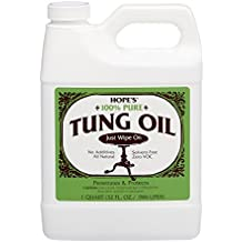 Hope's 100% Pure Tung Oil, Moisture Resistant Wood Finish for All Fine Woods, Furniture and Antiques,32 Ounce Bottle