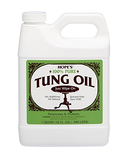 Hope's 100% Pure Tung Oil, Moisture Resistant Wood Finish for All Fine Woods, Furniture and Antiques,32 Ounce Bottle (Tung Oil Wax)