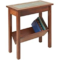 Manchester Wood Slate Top Chairside Table - Chestnut