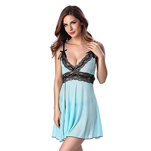 De las mujeres Conjuntos de lencería con Tirantes V profundo Aderezo nocturno Bowknot Camisas Falda translúcida Vestido de encaje Con g-string Azul claro