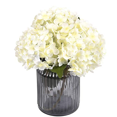 Sunm Boutique Artificial Hydrangea Flowers Bulk with Stems, Silk Hydrangea Flowers Heads Leaves, Artificial Flower Bouquets for Wedding Bouquets Centerpieces Arrangements Party Home Decor, Pack of 3