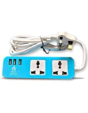 BEDO Power strip 2 outlets with 3 USB Ports, blue