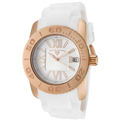 Swiss Legend Women's 10114-RG-02 Commander White Polyurethane and Rose Gold Tone Watch - Swiss Legend Rose Gold Tone Watch