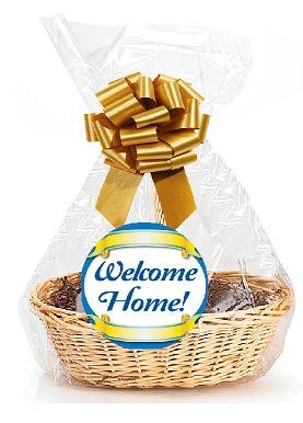 "Welcome Home 2Pack Designer Cello Bags/Tags/Bows Cellophane Gift Basket Packaging Bags Flat 18"" x 30"""