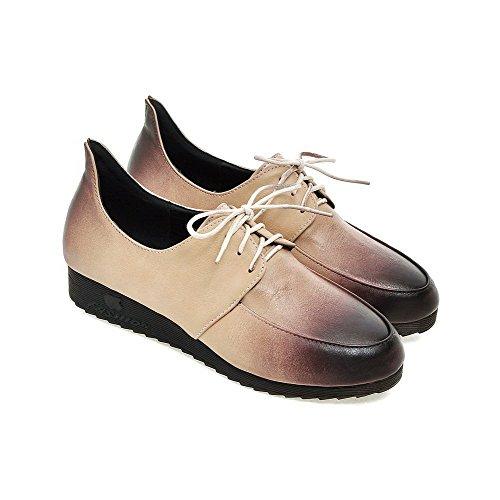 Amoonyfashion Kvinnor Runda Stängd Tå Mjukt Material Diverse Färg Spets Upp Pumpar-shoes Beige