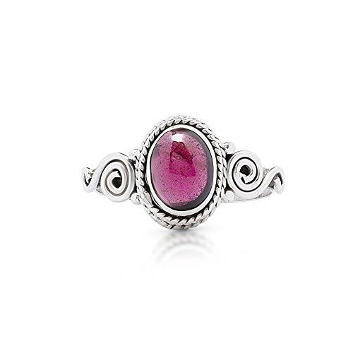 - Koral Jewelry Garnet Spiral Sides Small Ring 925 Sterling Silver Vintage Tribal Gipsy Boho US Size 5 6 7 8 9 (7)