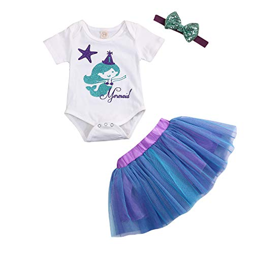 Mermaid Outfit for Baby Girl 1st Birthday Tutu Dress Short Sleeve Romper Lace Skirt with Headband Clothes Set (White Bodysuit+Tutu Skirt, 6-12 Months)]()