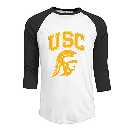 Price comparison product image Bro-Custom Usc Trojans Football Men's Essential Raglan Tshirt Size LBlack