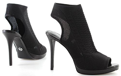 Open Michael Tyra Yarn Kors Tacón New Sandalias Negro Zapatos Black Mujeres Knit Toe qzXHwYXr
