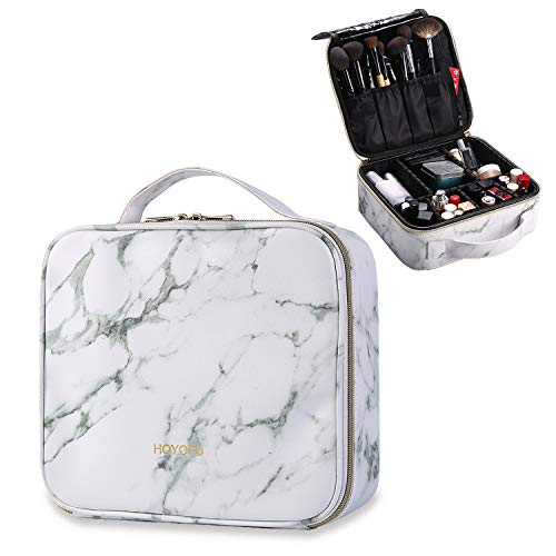 (HOYOFO Travel Makeup Train Case with Adjustable Dividers White Marble Makeup Organizer Bag Portable Cosmetic Storage Cases with Brush Holders, White)