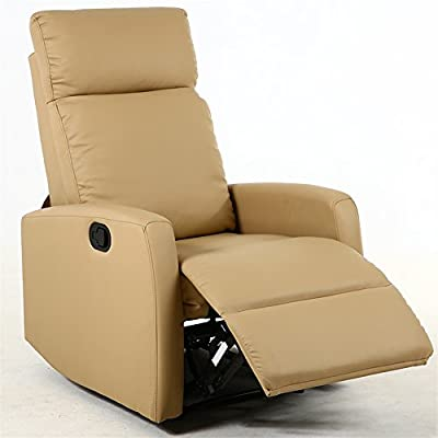 Amazon.com: Dland Home Theater Seating Recliner Chair Compact Manual  Leather Reclining Sofa Living Room Chairs, Light Brown 8031: Kitchen U0026  Dining