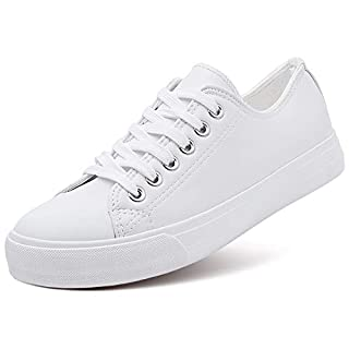 AOMAIS Womens Fashion PU Leather Sneakers Low Top Lace up Canvas Shoes (White,US8)…