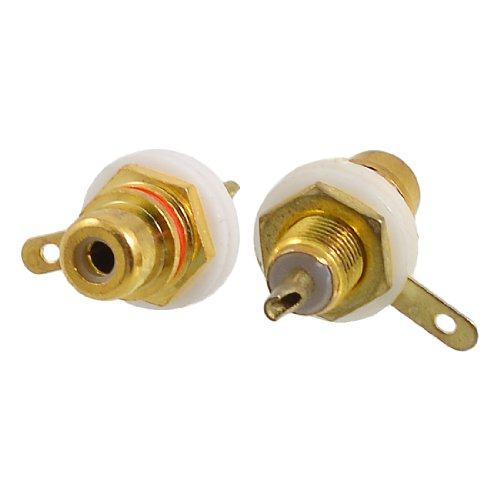 Plated Rca Panel Mount Jack (2 Pcs Gold Tone Plated RCA AV Female Jack Soldering Connector)