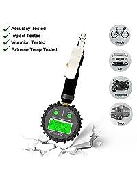 Attom Tech   Medidor de presión de inflador de neumáticos digital (250 PSI) para desinflador de pistola de aire, compresor, extensor de válvulas de alta resistencia, acoplador de coche de conexión rápida, camión, SUV, RV, motocicletas, bicicletas