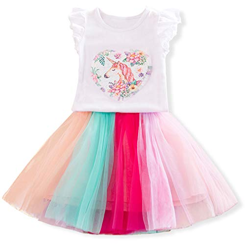 - TTYAOVO Toddlers 2pcs Unicorn Outfits,Little Girls' Unicorn Sleeveless Tops with Layered Rainbow Tutu Skirts Size 5-6 Years