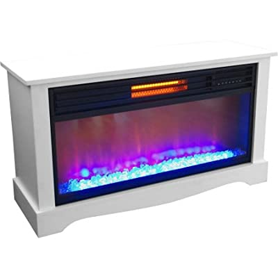 """Lifesource 20"""" Tall Heater Fireplace with Color Change LED Affect, White Cabinet"""