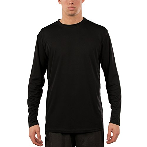 Vapor Apparel Men's UPF 50+ Sun Protection Performance Long Sleeve T-shirt Large Black (Jersey Long Sleeve Polo Shirt)