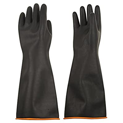ThxToms S770R Natural Latex Chemical Resistant Gloves, Strong Acid, Alkali and Oil Resistant