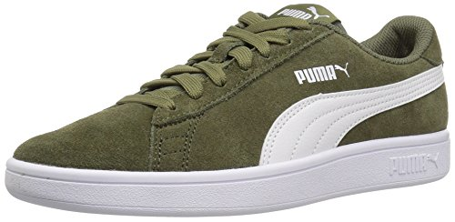 PUMA Unisex-Kids Smash v2 SD Sneaker, Burnt Olive White, 7 M US Big Kid (Green Sneakers Puma)