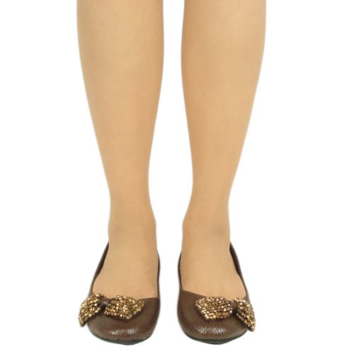 Ballet BROWN Women Snake Shoes Print Comfort FL Flats KSC Bow Beaded By wXExFP