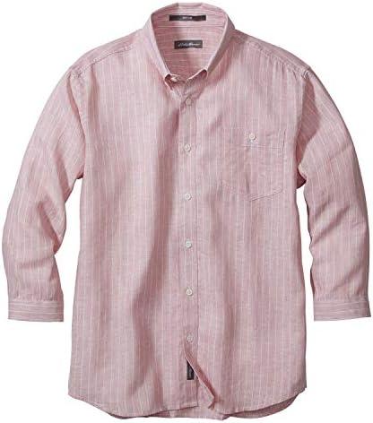 3/4スリーブイージーケアフレンチリネンドビーストライプボタンダウンシャツ(抗菌防臭加工) 七分袖シャツ メンズ