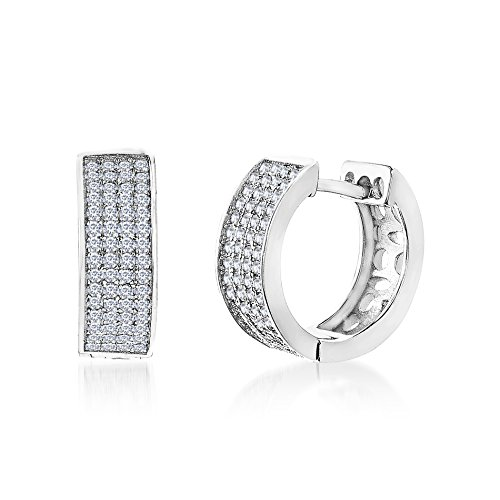MIA SARINE Pave Cubic Zirconia Band Huggie Hoop Bridal Gift Earrings for Women in Rhodium Plated 925 Sterling Silver