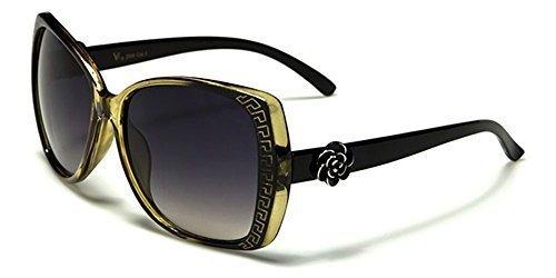 VG Designer RECTANGLE FEMME Lunettes de soleil - COMPLET UV400 Protection GRATUIT vibranthut microfibre poche inclus noir / TRANSLUCIDE ambre