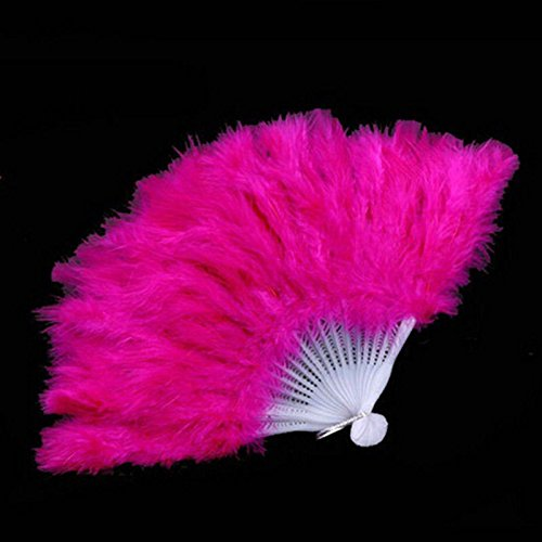 Rose Wedding Gift Burlesque Dance Fancy Costume Folding Feather Hand Fan