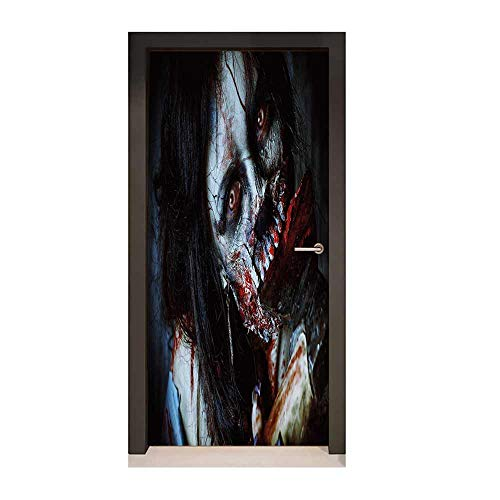 Zombie Decor Decor Door Mural Scary Dead Woman with Bloody Axe Evil Fantasy Gothic Mystery Halloween Picture for Home Decor Multicolor,W23xH70 -