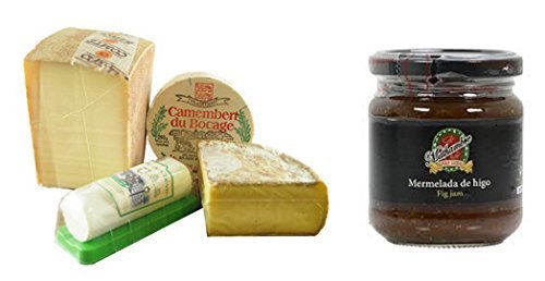 French Cheese Sampler, Assortment - 1.9 lbs + Fig Jam Mathambre, 220gr (French Cheese Sampler)