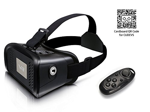 CUDEVS 3D VR Glasses,VR Headset Virtual Reality Box with Adjustable Len for iPhone 5 5s 6 6s 7 plus Samsung S5 S6 Edge Note 3 4 5 and 3.5-6.0 inch Smartphone for 3D Movies and Games (VR with Remote)