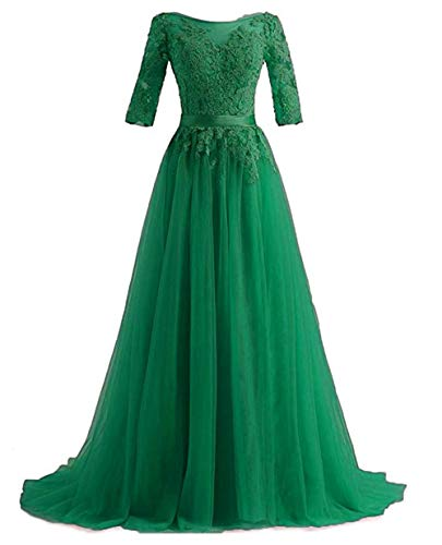 (Girls Half Sleeve Prom Special Occasion Dresses Plus Size Appliques Lace Long Green,26w)