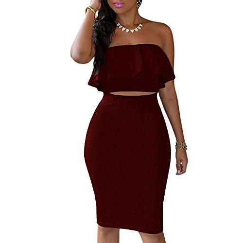 Kalin Women's Ruffle Crop Top Maxi Skirt Set 2 Piece Outfit Bandage Nightclub Dress (XL, Wine Red)