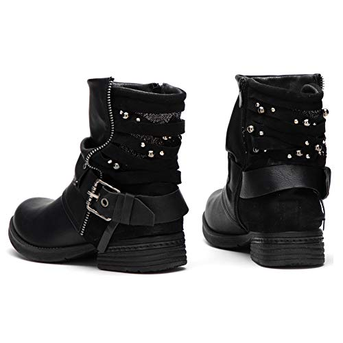 LALA IKAI Women Motorcycle Boots Combat Ankle Combat Boots with Studded Low Block Heels Biker Shoes Black/Gray/Brown ()