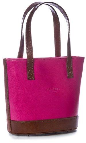 Big Handbag Shop Kleine Damen Schultertasche aus echtem italienischem Leder in Bucketform (V150 Pink-BrwnTrim)