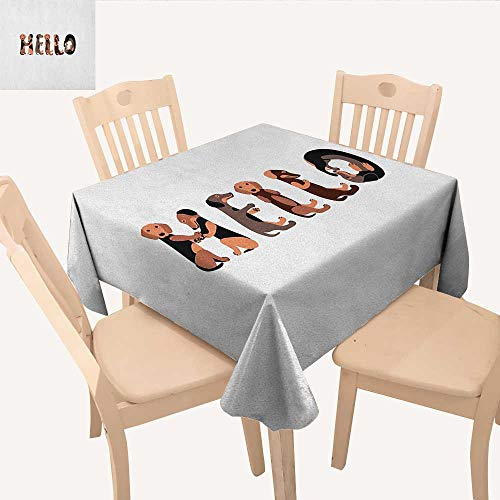 longbuyer Dachshund Square Tablecloth Dachshund Puppies Spelling The Word Hello Lovely Animal Font Design Dinning Table Covers Brown Caramel Taupe W 70